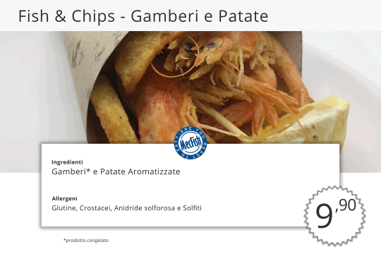 Fish Chips Gamberi e Patate MecFish Primo Fast Food di Pesce