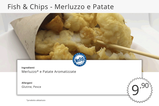 Fish Chips Merluzzo e Patate MecFish Primo Fast Food di Pesce