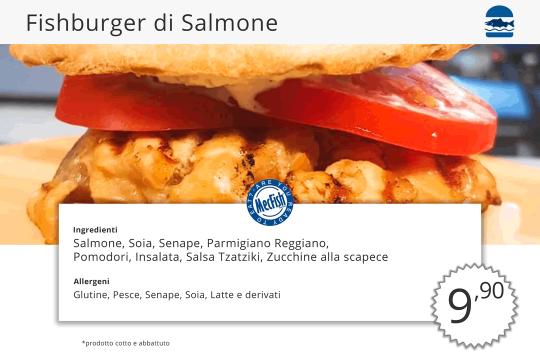 Fishburger di Salmone MecFish Primo Fast Food di Pesce